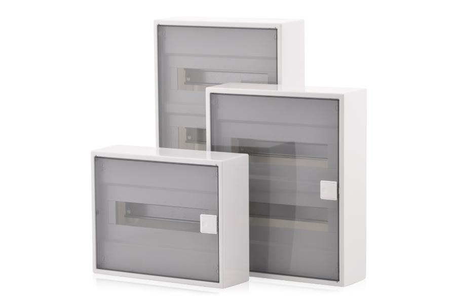 Transparentes Gehäuse für den Einbau von Schalrelais.
